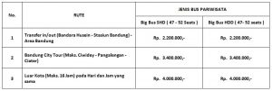 daftar harga sewa bus SHD HDD 2018